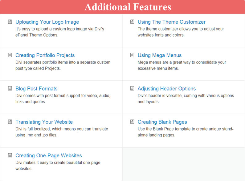 divi documentation additional features