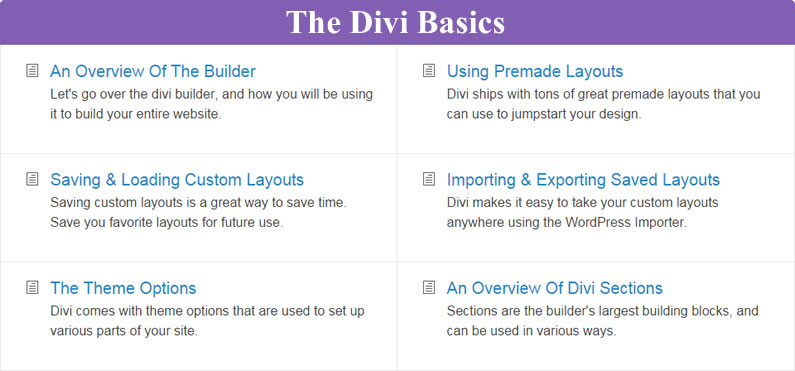 divi documentation divi basics