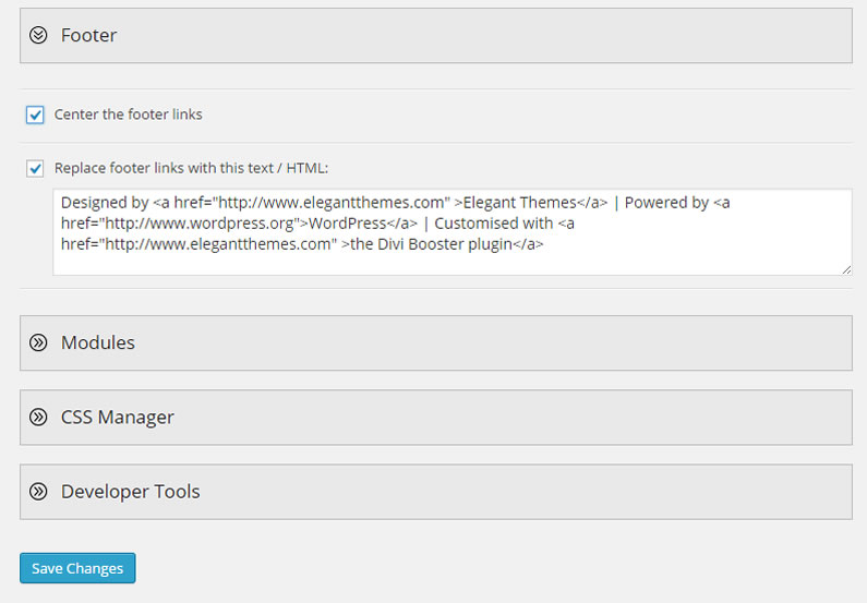 divi booster footer links feature