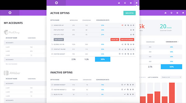 bloom optin plugin dashboard