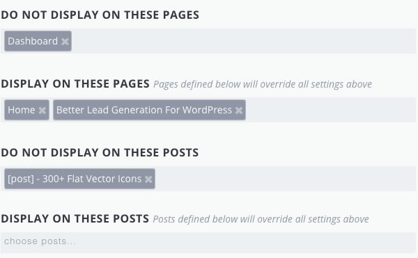 bloom optin plugin target posts and pages