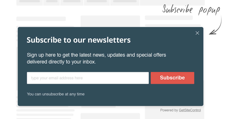 getsitecontrol email subscribe widget