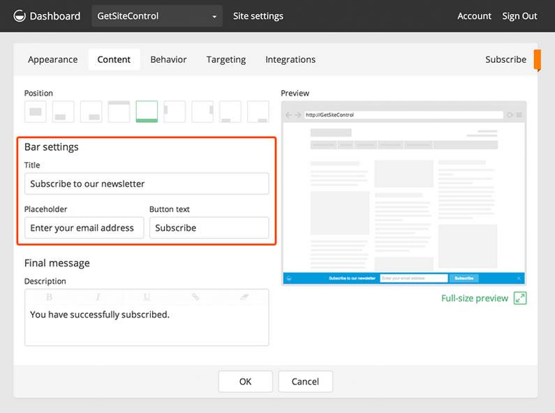 getsitecontrol email subscribe widget content