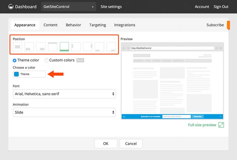 getsitecontrol email subscribe widget position