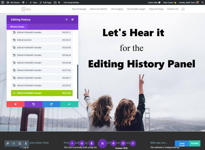 Divi Visual Builder – Editing History panel