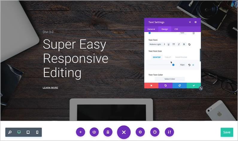 Divi Visual Builder – Super easy responsive design for desktop, tablet and smartphone