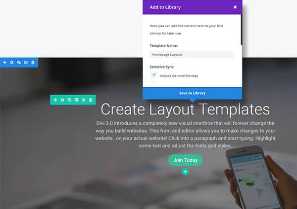 divi 3.0 visual page builder save your layouts