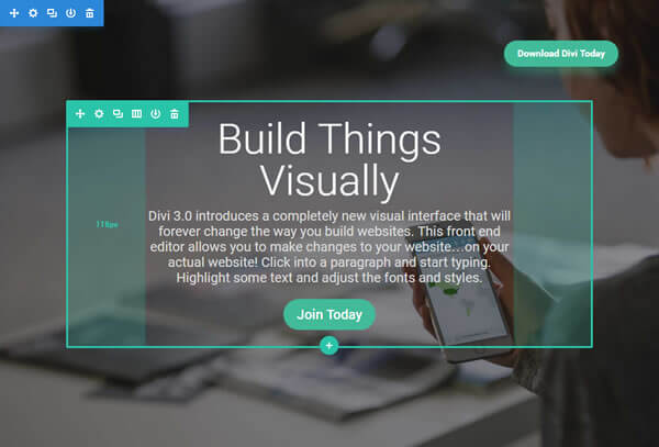 divi visual builder draggable padding hotkeys