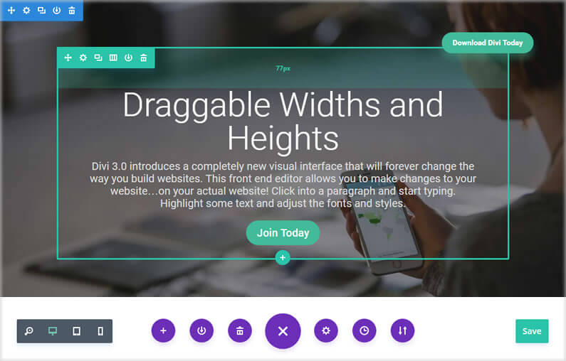 Divi Visual Builder – creating whitespace with draggable widths and heights