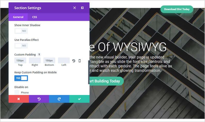 divi visual builder settings panel