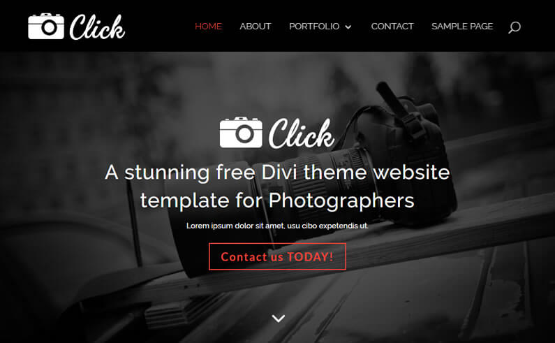 """Click"" a stunning free Divi theme website template for Photographers"