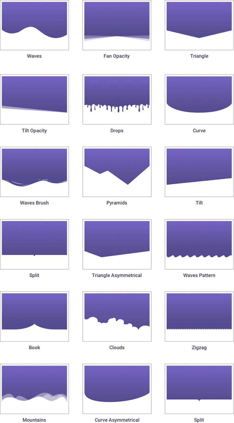 elementor shape divider shapes