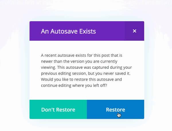 divi visual builder auto saves