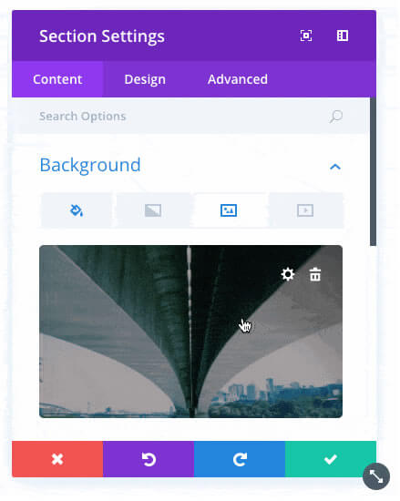 new divi background options interface