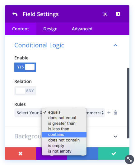 new divi contact form module conditional logic
