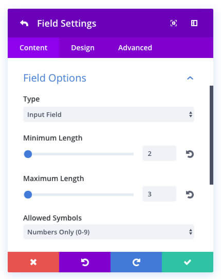 new divi contact form module field validation
