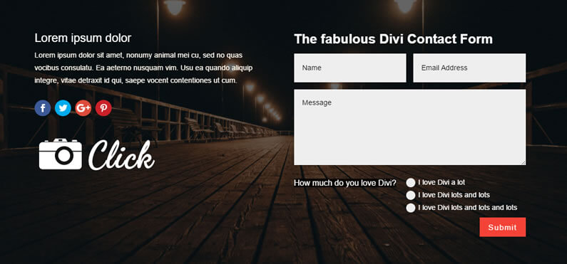 new divi contact form module example