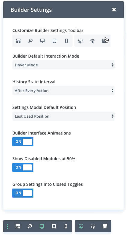 divi visual builder customisation controls