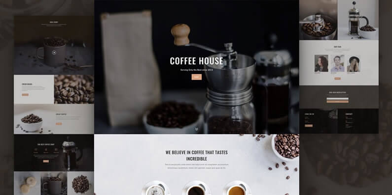 free divi layout pack for coffee shop websites