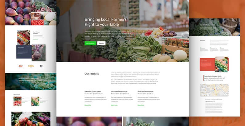 free divi layout pack for farmers market / non-profit websites
