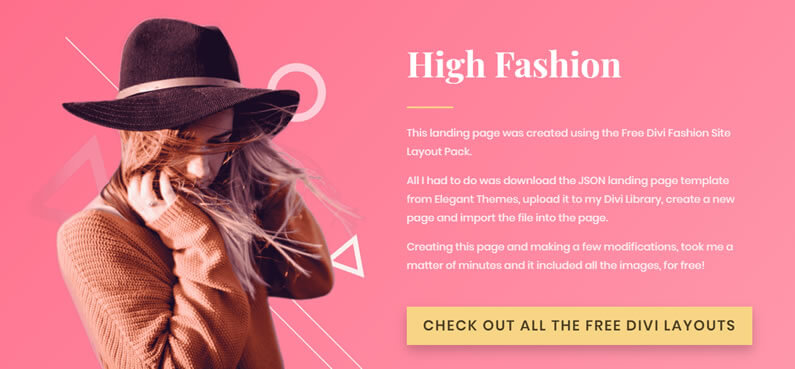 free divi fashion site layout pack landing page demo