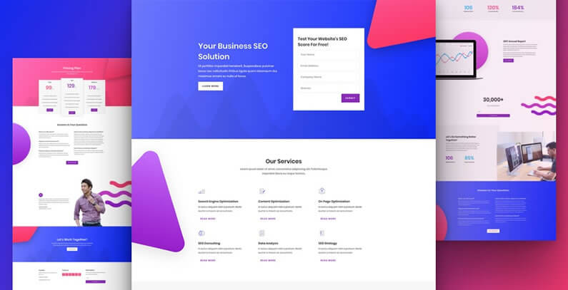 free divi layout pack for SEO websites