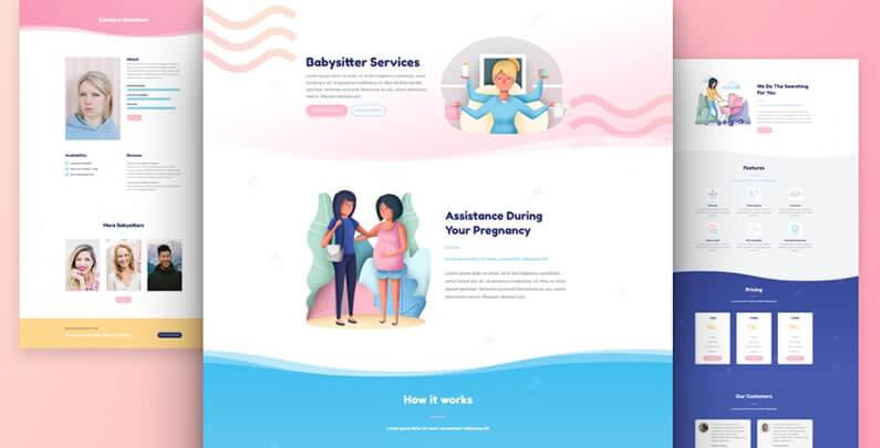 free divi layout pack for babysitter websites