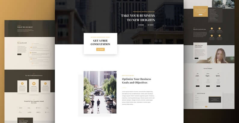 free divi layout pack for business consultant websites