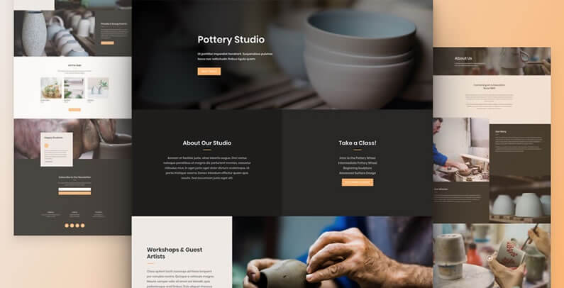 free divi layout pack for pottery studio websites