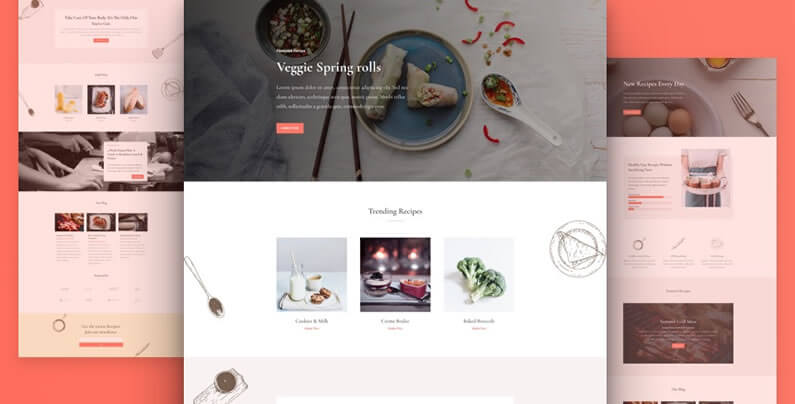free divi layout pack for food recipes websites