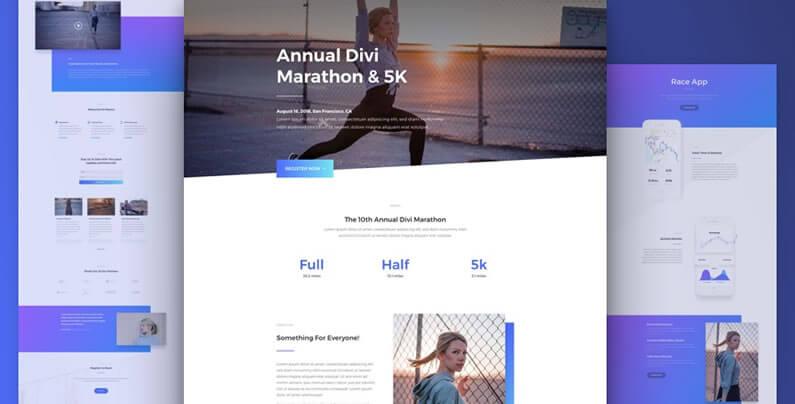 free divi layout pack for marathon websites