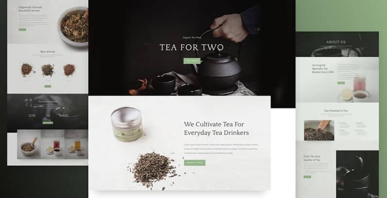 free divi layout pack for tea shop websites