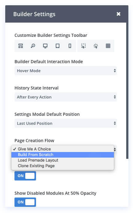 divi visyal builder customise page creation method