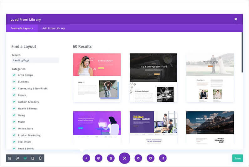 divi visyal builder page creation choose a premade layout