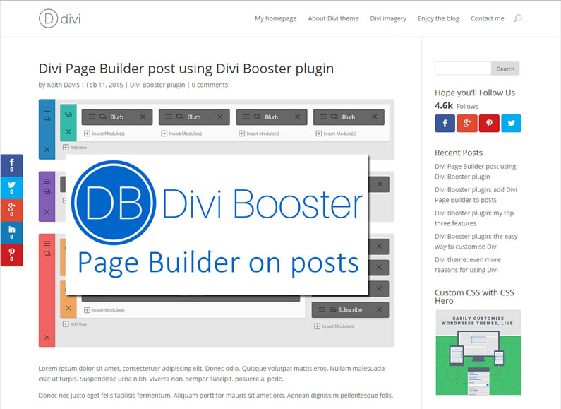 divi booster post created using page builder