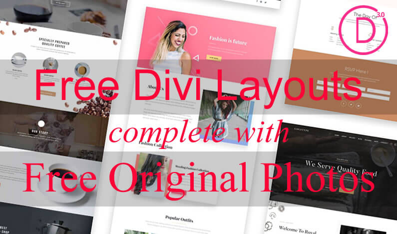 Free Divi Layouts complete with free Original Photos