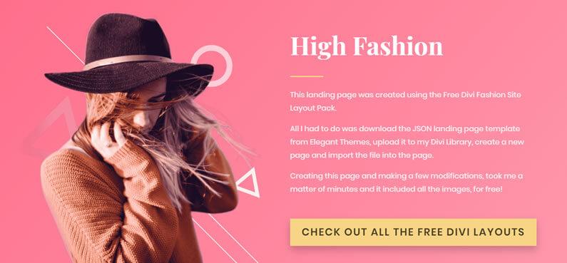 free divi fashion site layout pack landing page demo