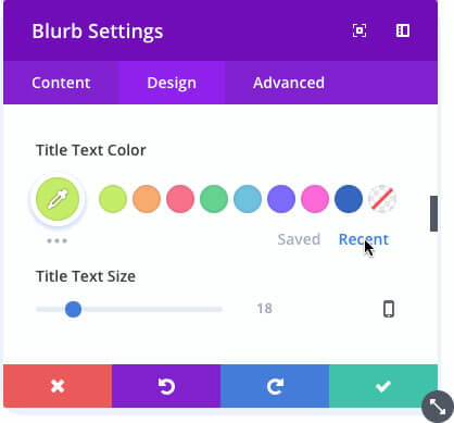 divi colour manager access recent colours