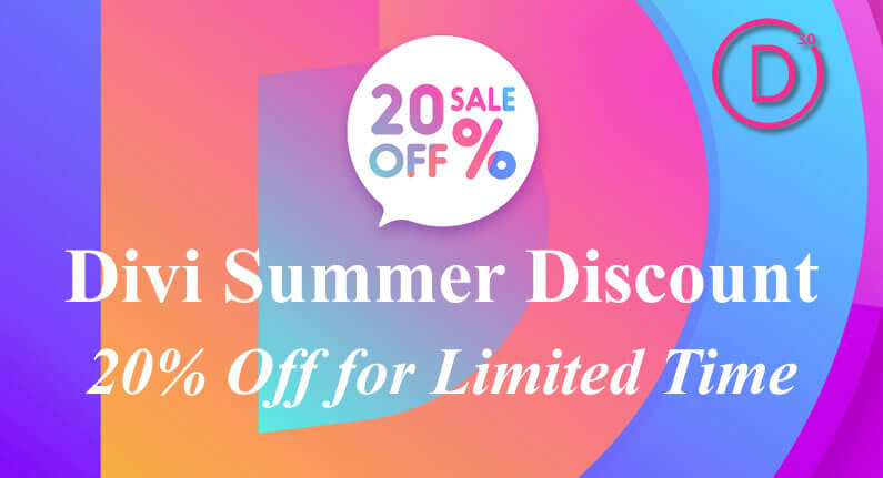 Divi Summer Discount – 20% off for limited time